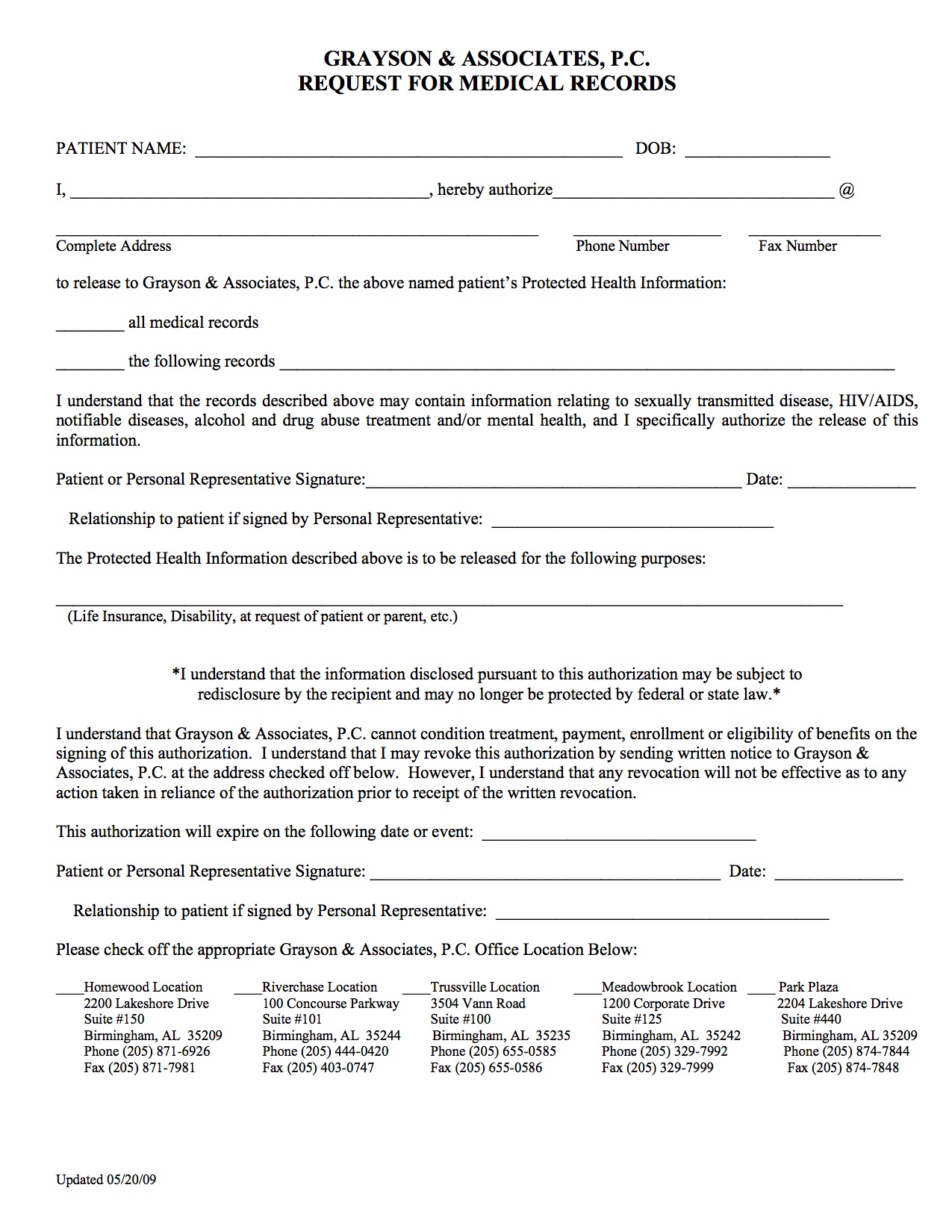 Forms - Request for Medical Records